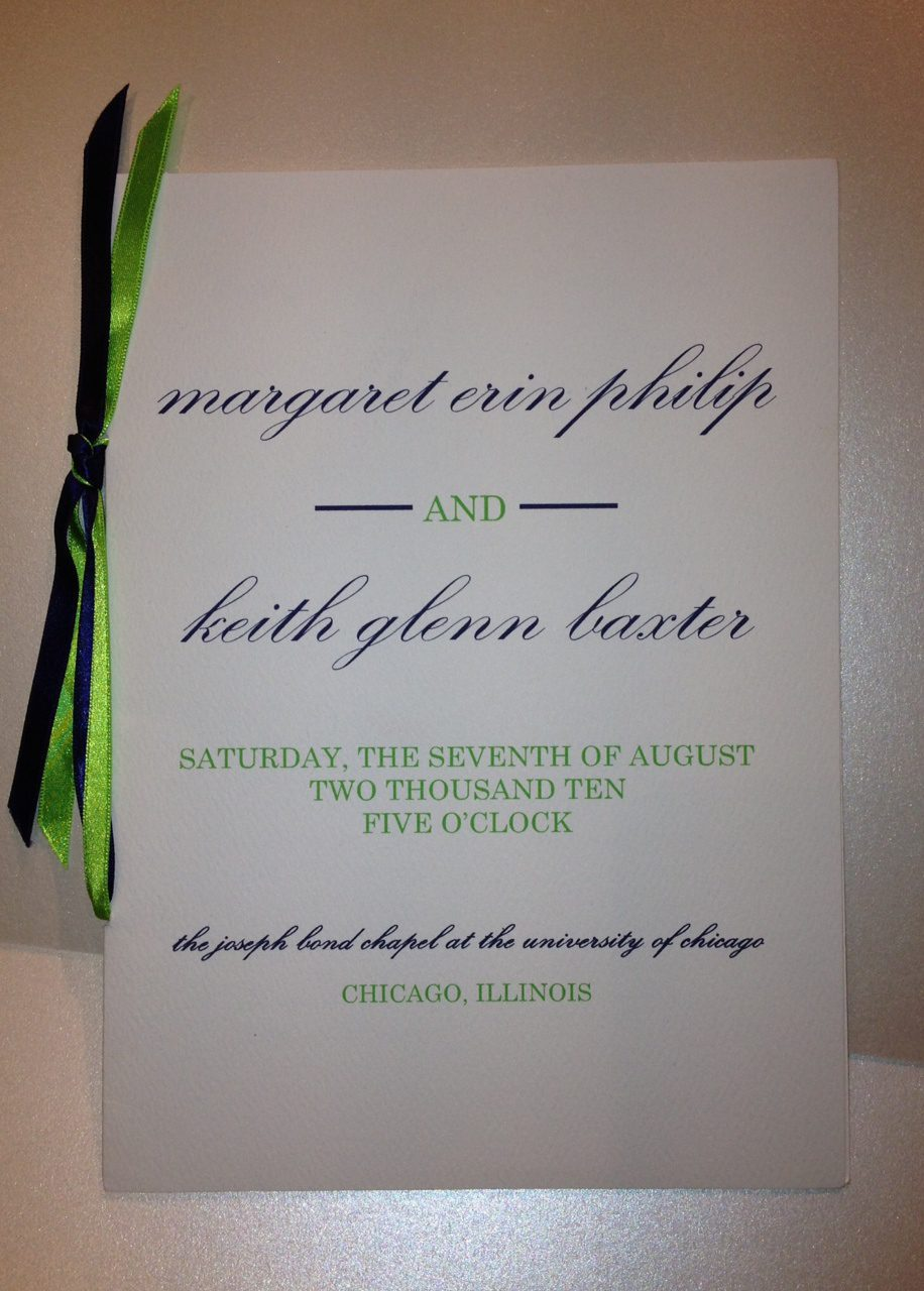 Green Navy Wedding Program